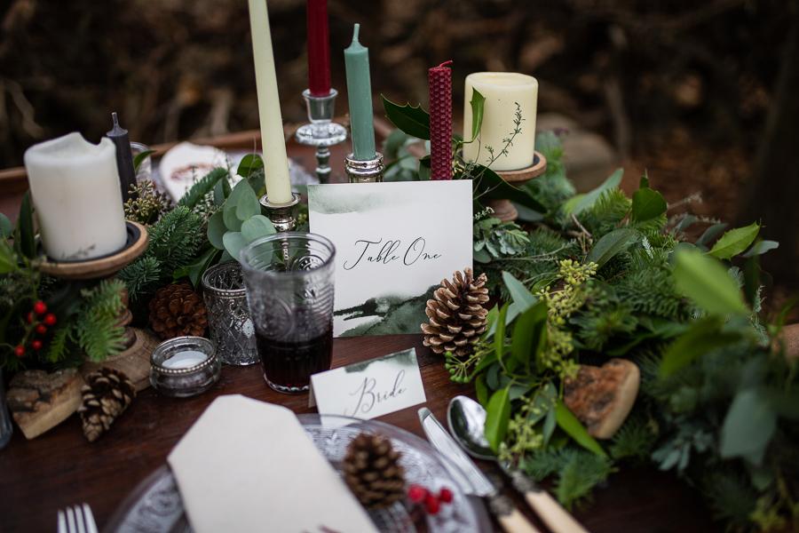 Winter woodland wedding styling ideas, image credit Photography by Chantel (8)