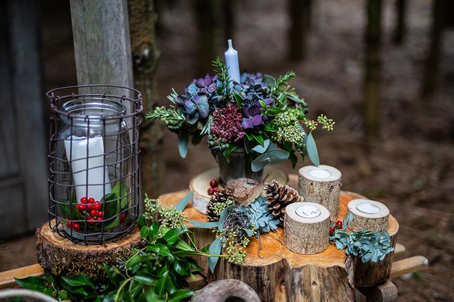 Winter woodland wedding styling ideas, image credit Photography by Chantel (15)