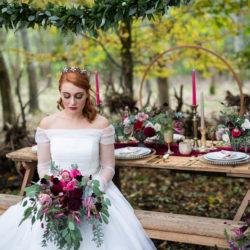 Winter woodland wedding styling ideas
