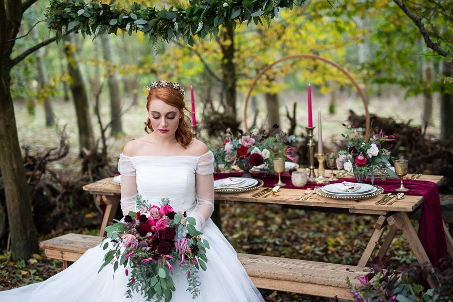 Winter woodland wedding styling ideas, image credit Photography by Chantel (31)