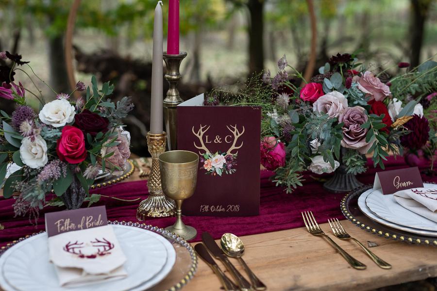 Winter woodland wedding styling ideas, image credit Photography by Chantel (33)