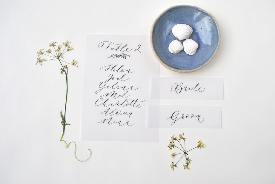 Calligraphy for weddings in the UK, Claire Gould calligrapher By Moon and Tide (2)