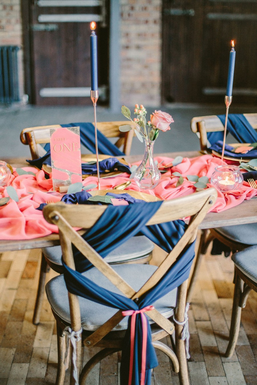 Coral and blue for a colour pop wedding style! Credit Tabitha Stark Photography via English Wedding Blog (10)
