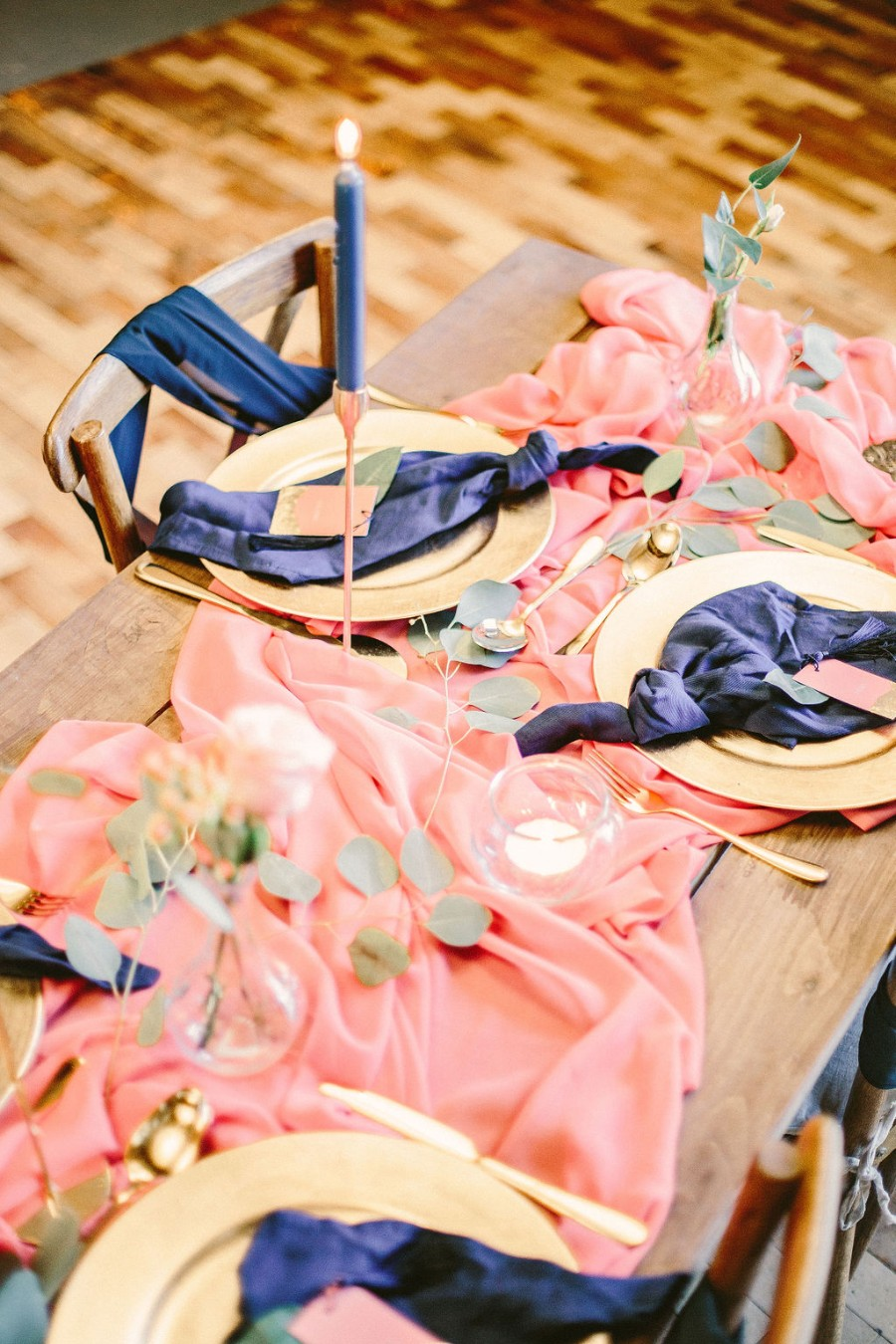 Coral and blue for a colour pop wedding style! Credit Tabitha Stark Photography via English Wedding Blog (11)
