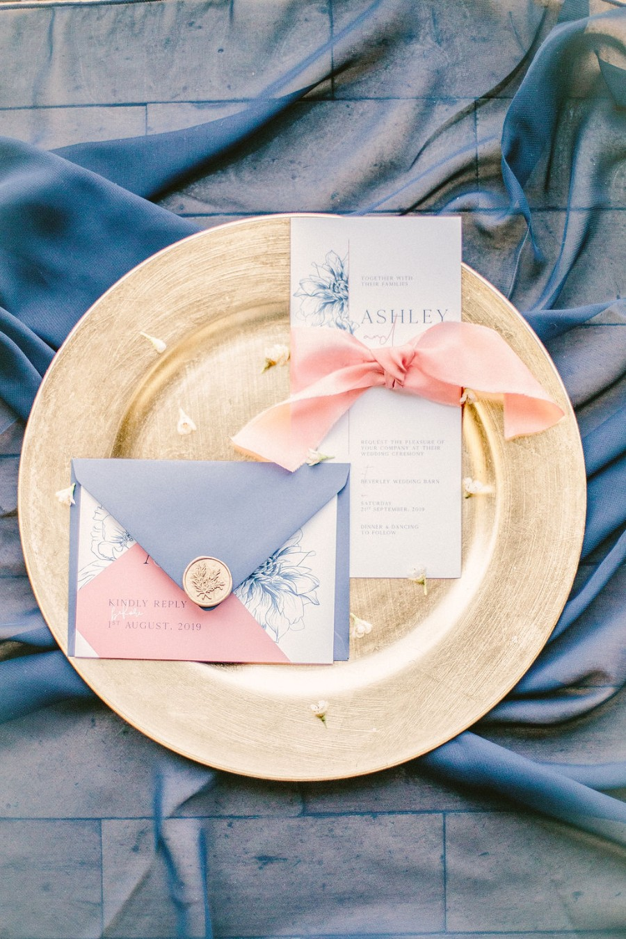 Coral and blue for a colour pop wedding style! Credit Tabitha Stark Photography via English Wedding Blog (1)