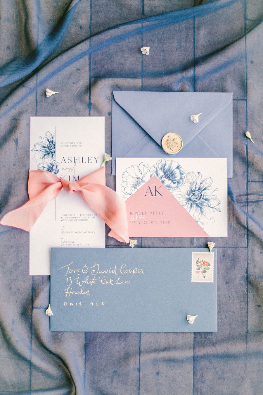 Coral and blue for a colour pop wedding style! Credit Tabitha Stark Photography via English Wedding Blog (2)