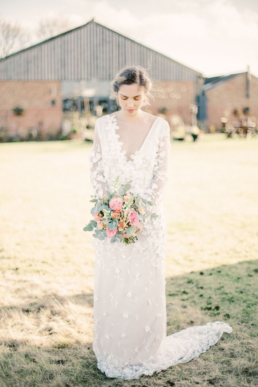 Coral and blue for a colour pop wedding style! Credit Tabitha Stark Photography via English Wedding Blog (25)