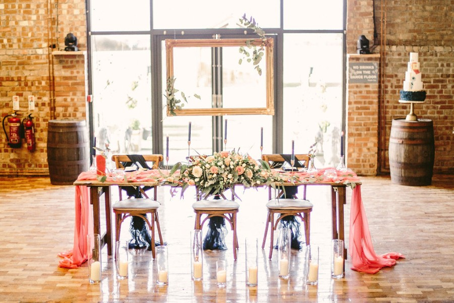 Coral and blue for a colour pop wedding style! Credit Tabitha Stark Photography via English Wedding Blog (26)