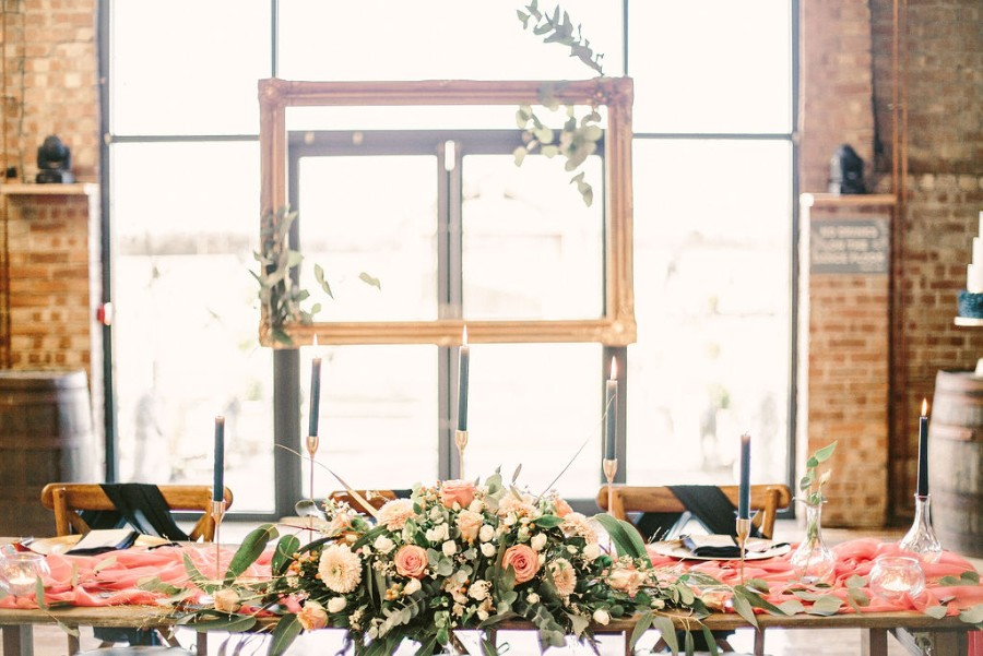 Coral and blue for a colour pop wedding style! Credit Tabitha Stark Photography via English Wedding Blog (29)