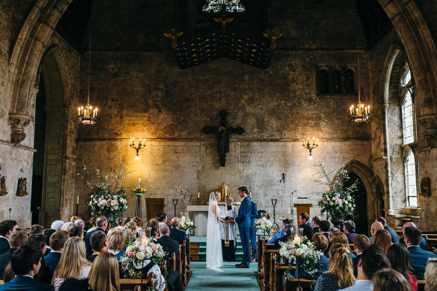 Lizzie and Howard's wedding ceremony at Mayfield School chapel by Simon Biffen Photography
