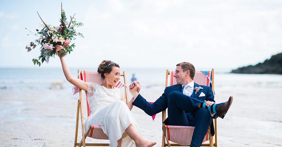 Vix and Joey down on the beach for thier wedding in Salcombe, Devon by Simon Biffen Photography