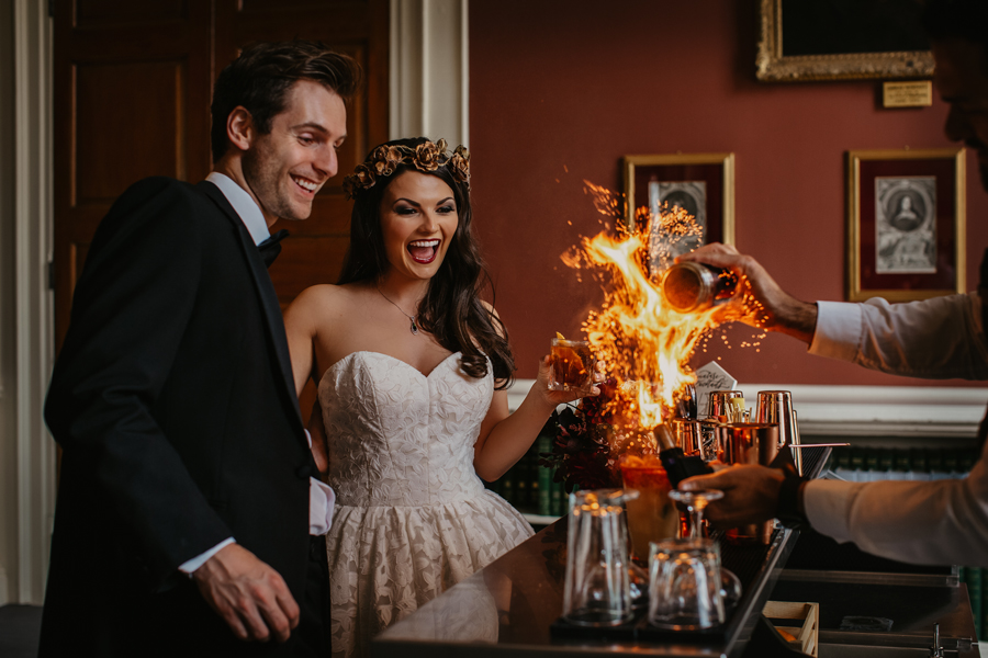 Cocktails at a Kimbolton Castle wedding by October James Photography