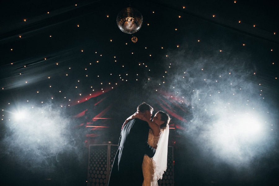 first dance wedding photographer smoke haze, image by Simon Biffen Photography