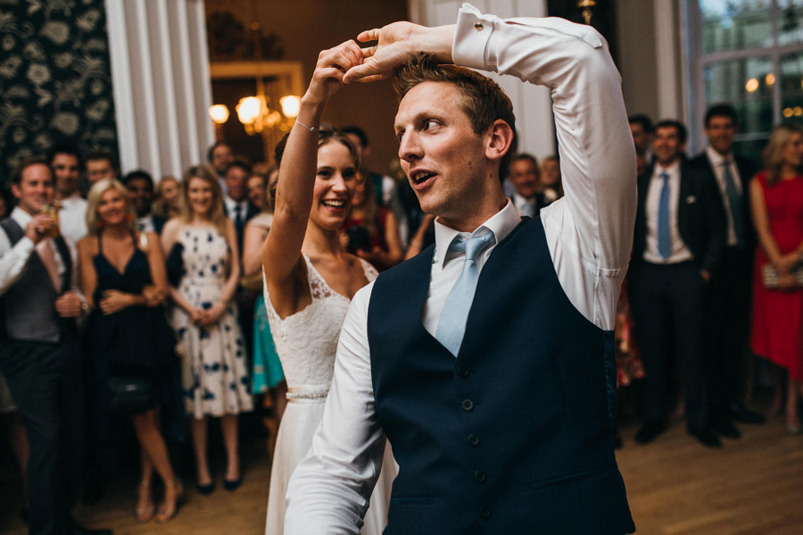 choreographed routine for bride and groom's first dance, image by Simon Biffen Photography