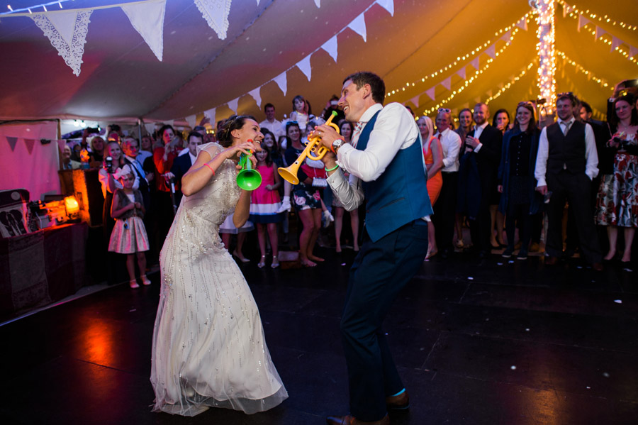 wedding first dance with trumpets, image by Simon Biffen Photography