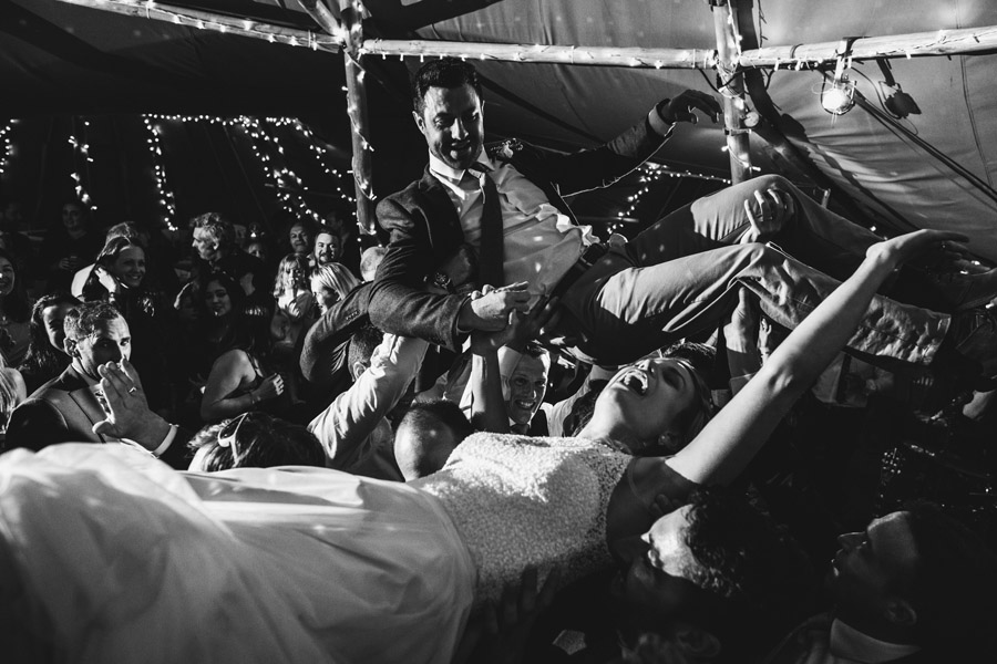 first dance crowd surf at wedding, image by Simon Biffen Photography