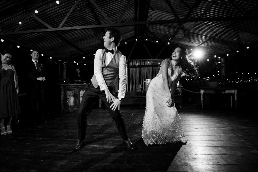 bride and groom dancing gangnam style, image by Simon Biffen Photography