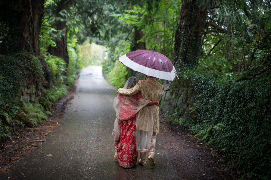 A raining elopement wedding at The Green Weddings in Cornwall by Evolve