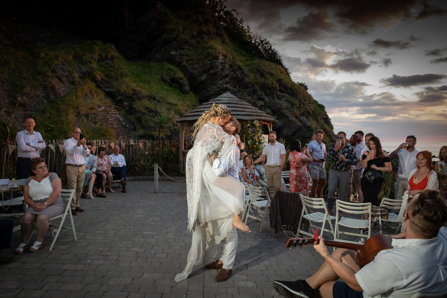 First dance outside by the sea at Tunnels Beaches Devon by Evolve