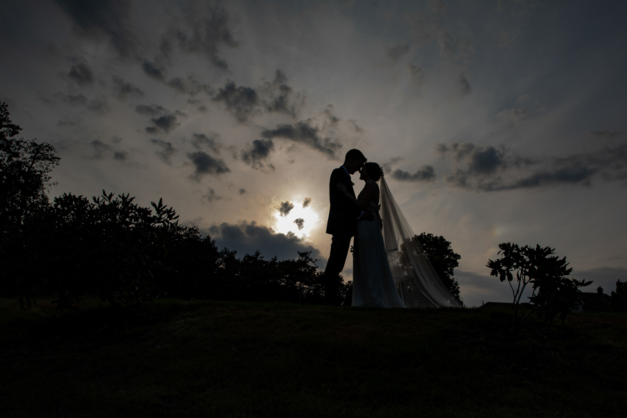 Helen and Dan silhouette at Upton Barn Devon by Evolve