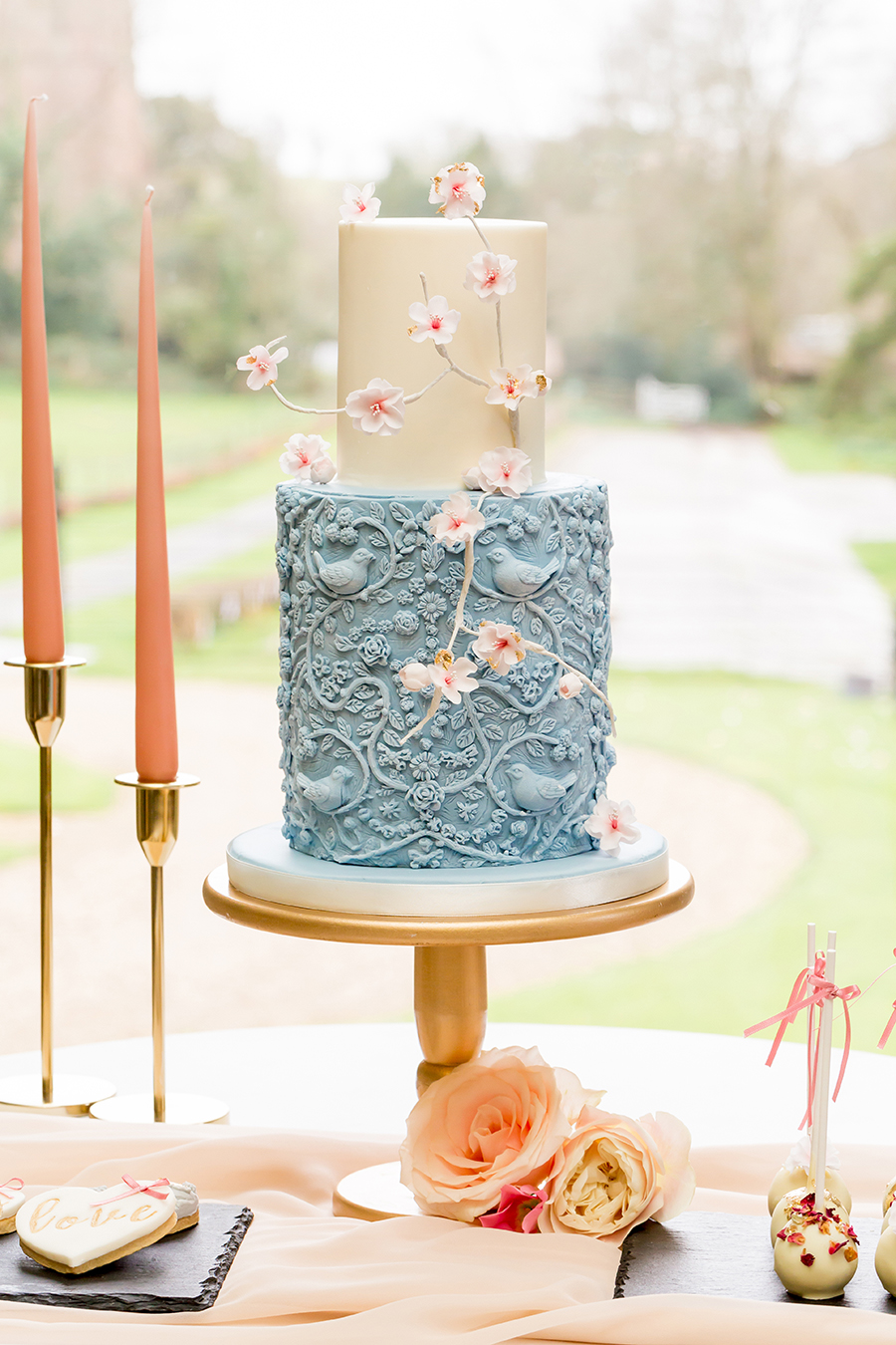 """Country Dreams""""-A Baroque Inspired, modern romantic English Country wedding shoot with soft pinks and powder blues infused with antique gold. (25)"""