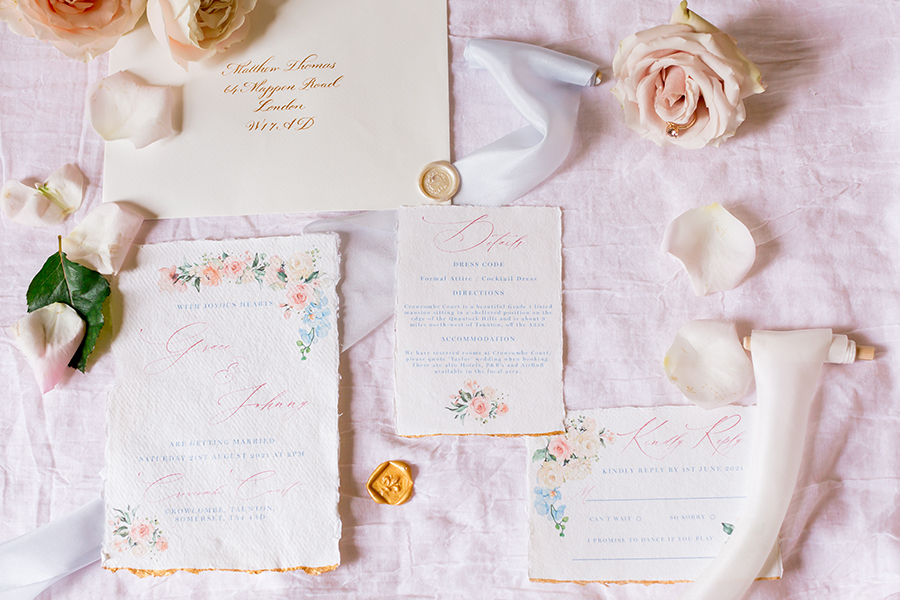 "Country Dreams""-A Baroque Inspired, modern romantic English Country wedding shoot with soft pinks and powder blues infused with antique gold. (6)"