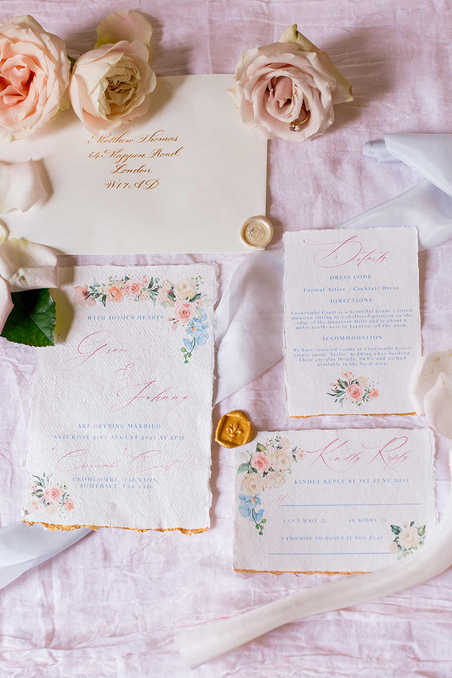 "Country Dreams""-A Baroque Inspired, modern romantic English Country wedding shoot with soft pinks and powder blues infused with antique gold. (7)"