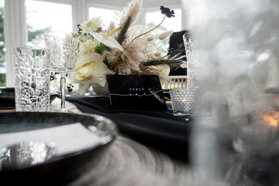 Modern Elegance wedding table setting by Dave Perry photography