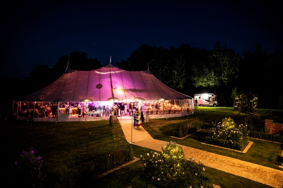 Real Marquee wedding in private gardens photography by Sam Bunney
