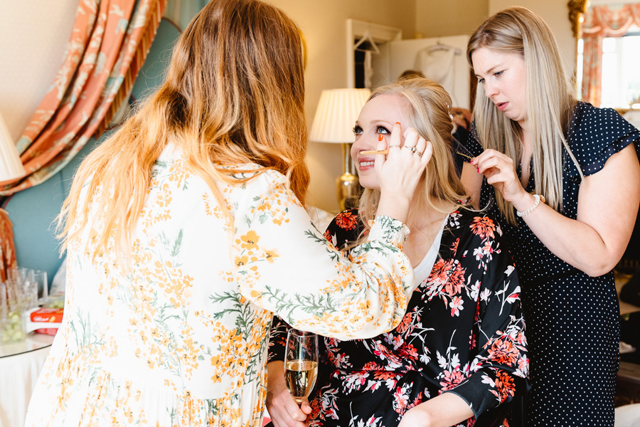 Real Wedding, bride prep at Wadhurst Castle, captured by Fiona Kelly Photography