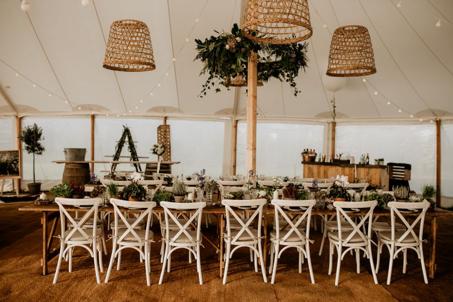Relaxed French inspired marquee setting Photography by Elena Popa
