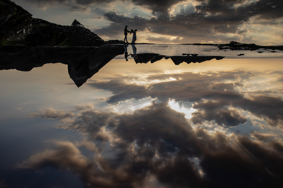 Shona and Chris sunset at Tunnels Beaches Devon by Evolve