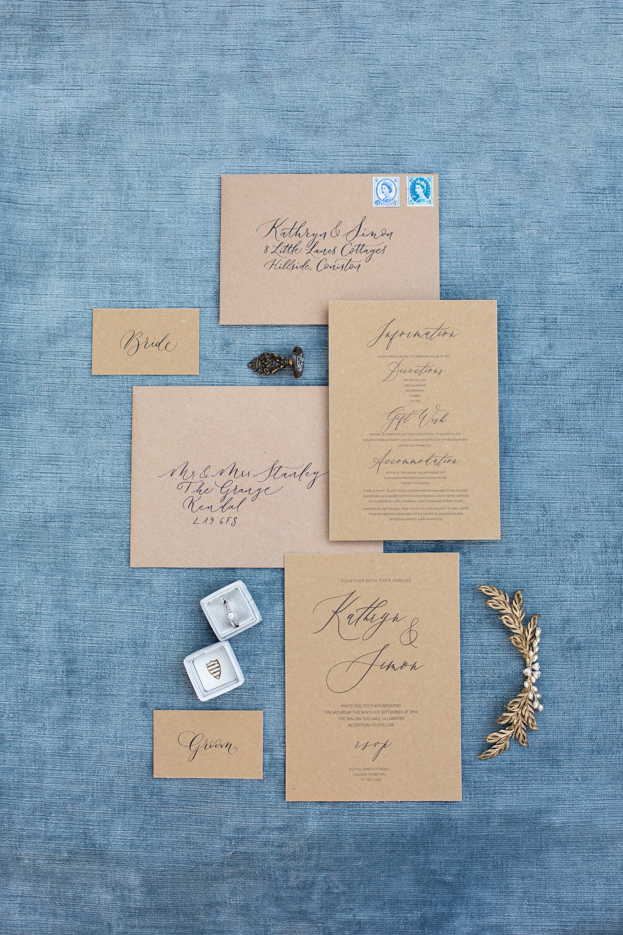Rustic elegance sustainable wedding stationery from By Moon and Tide Calligraphy, photography credit Jess Reeve (8)