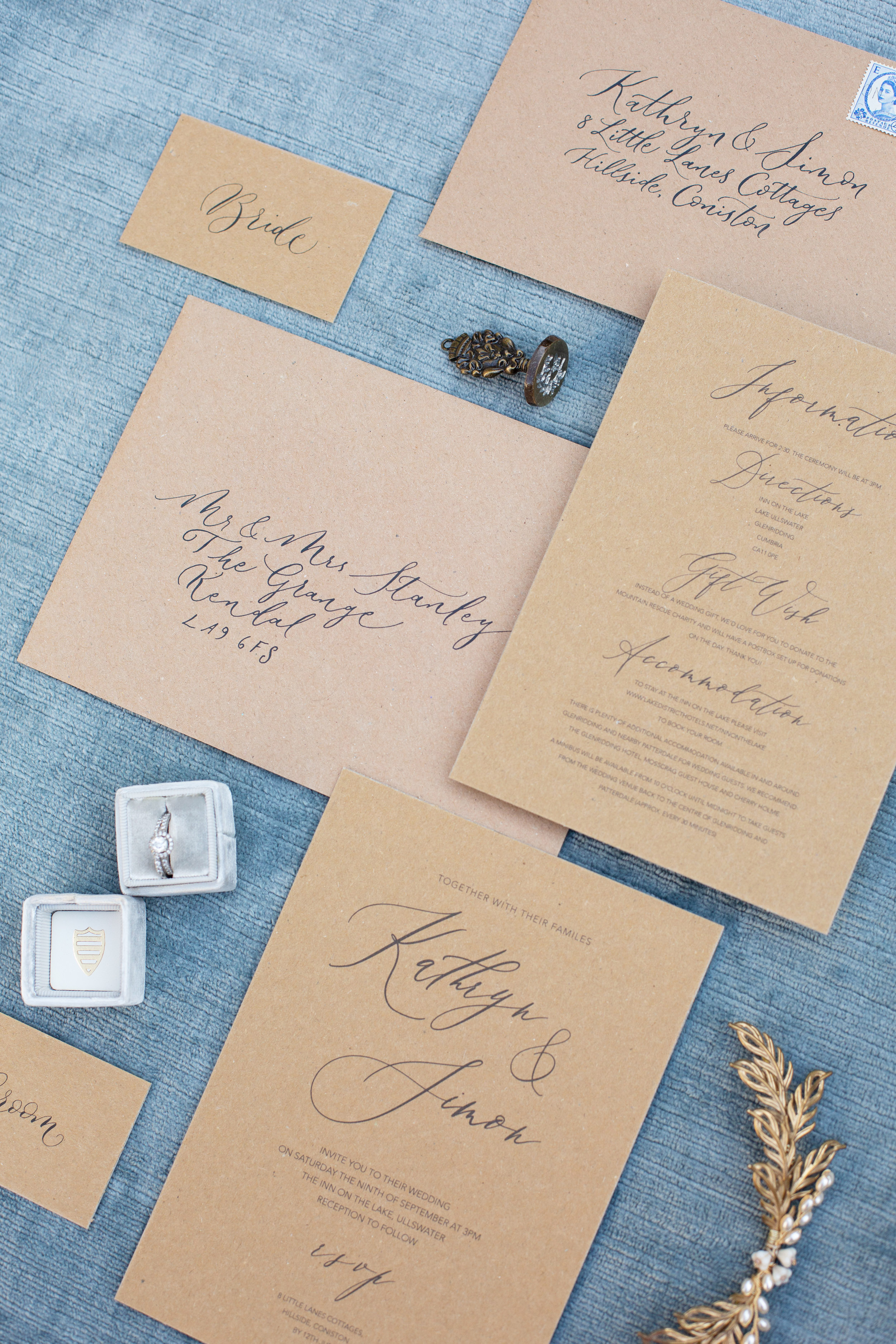 Rustic elegance sustainable wedding stationery from By Moon and Tide Calligraphy, photography credit Jess Reeve (6)