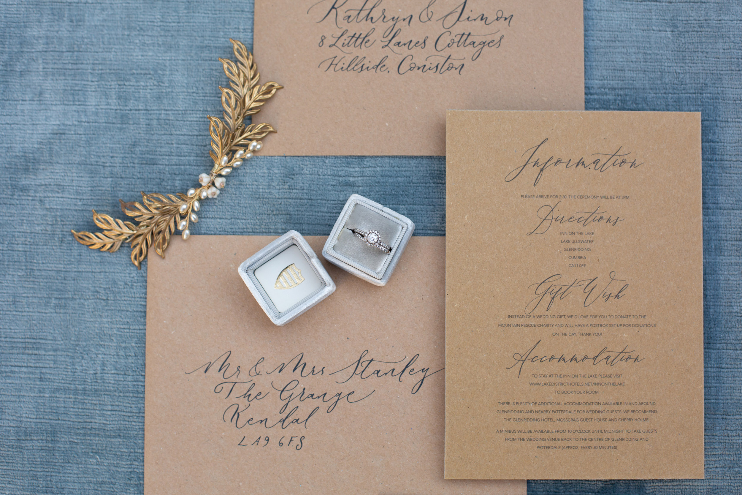 Rustic elegance sustainable wedding stationery from By Moon and Tide Calligraphy, photography credit Jess Reeve (3)