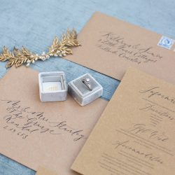 Rustic, elegant and sustainable wedding invitations from By Moon & Tide Calligraphy