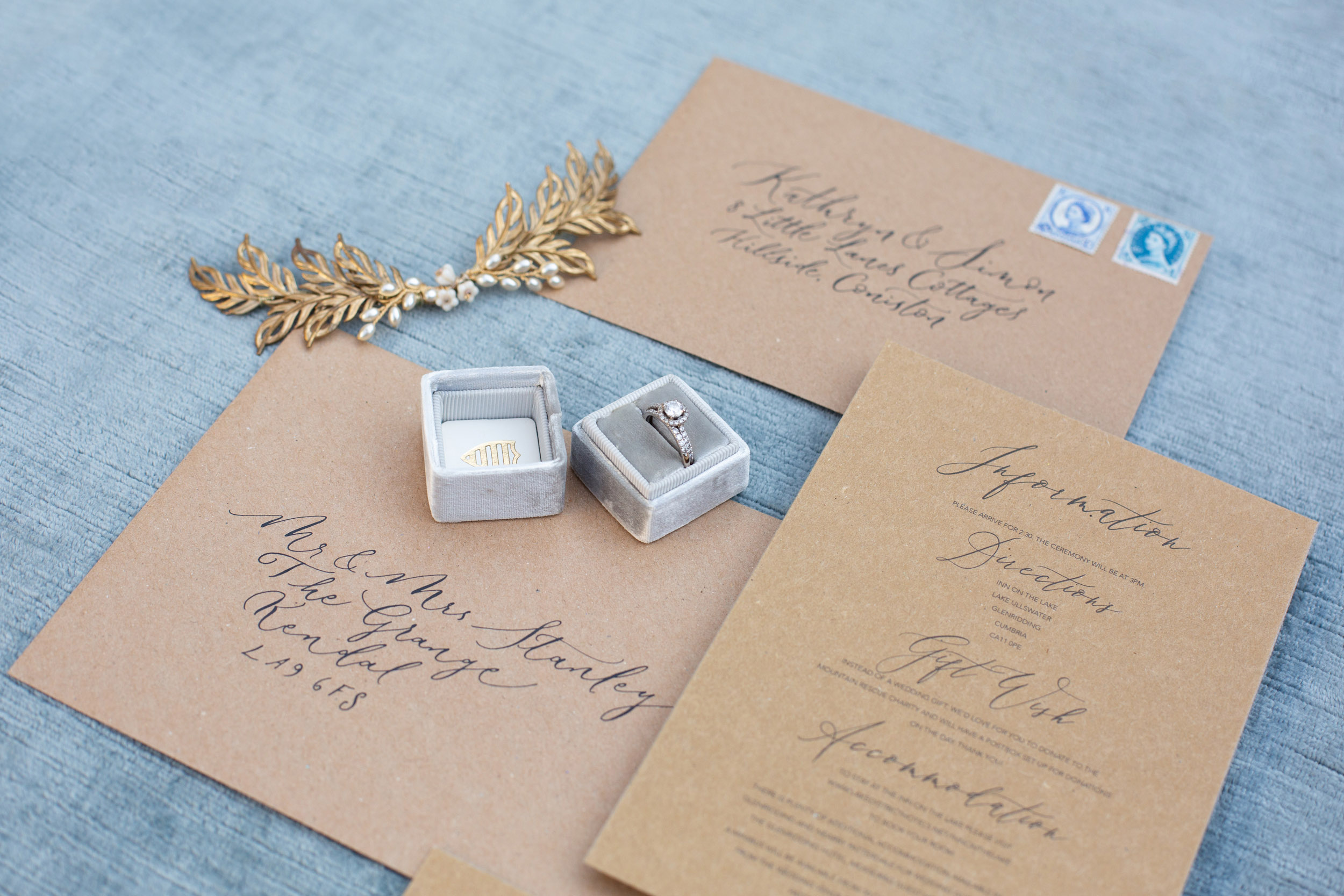 Rustic elegance sustainable wedding stationery from By Moon and Tide Calligraphy, photography credit Jess Reeve (2)