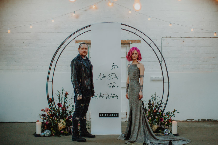 Alternative Monochrome wedding inspo at White Syke Fields with Alt Wedding Co (26)