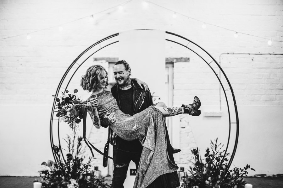 Alternative Monochrome wedding inspo at White Syke Fields with Alt Wedding Co (22)