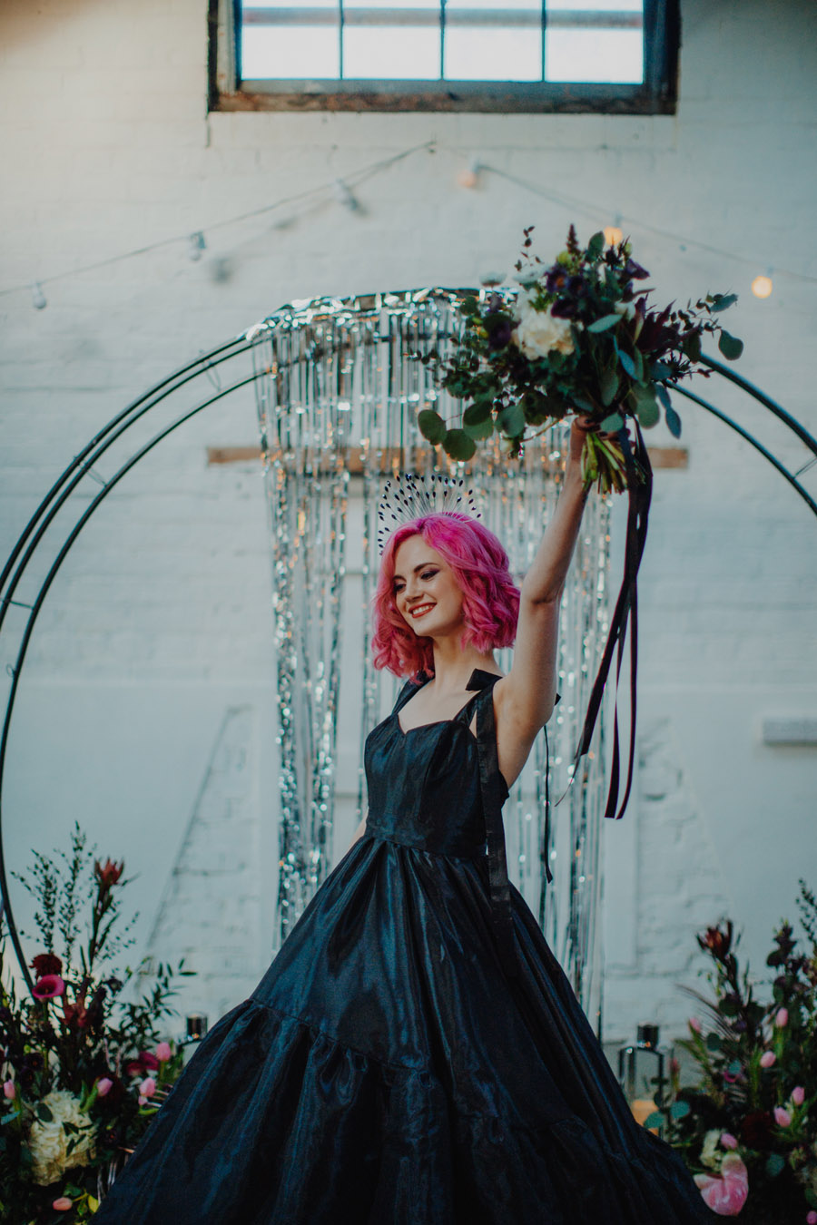 Alternative Monochrome wedding inspo at White Syke Fields with Alt Wedding Co (16)