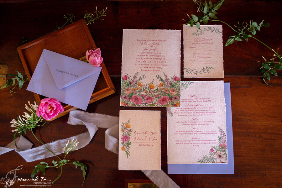 Fabulous spring colour for an Old Church Farm wedding! Photography credit Hannah Timm (25)