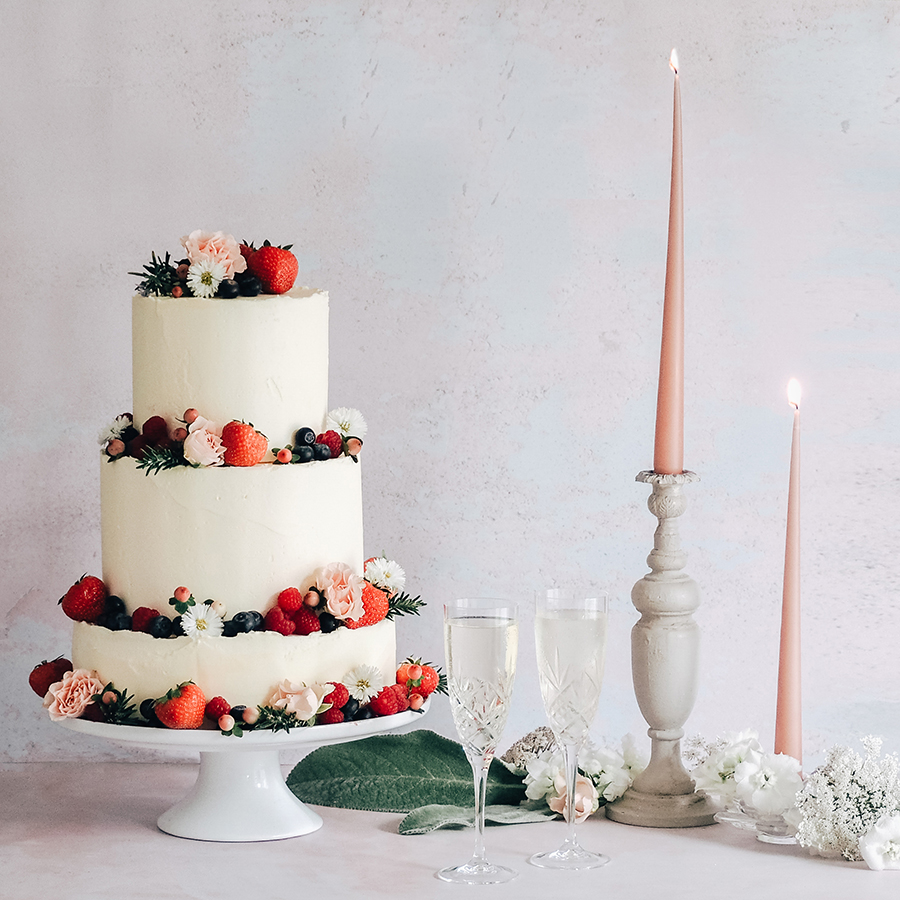 Summer fruits and buttercream wedding cake by Christina May