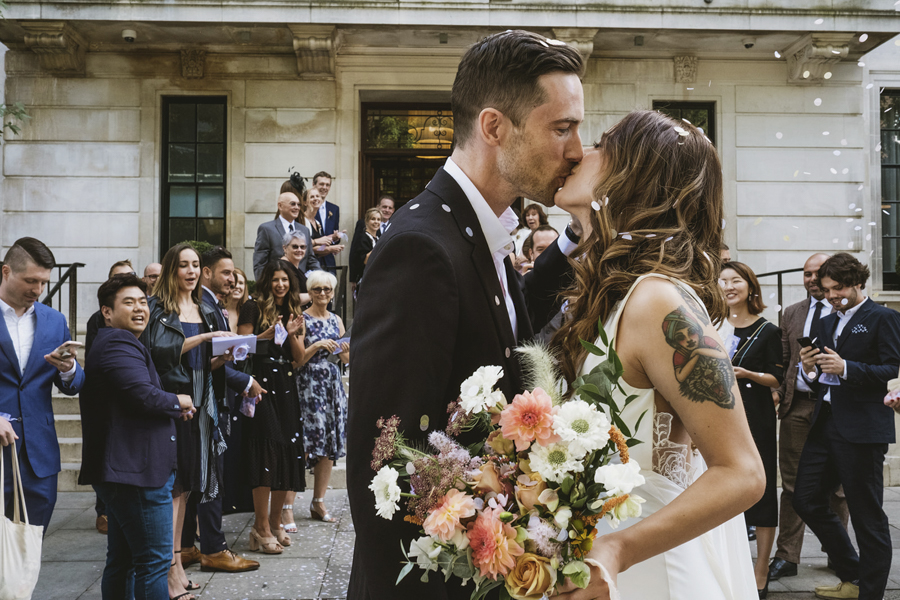 Michelle & Stephen's relaxed modern wedding at London's Town Hall Hotel, with York Place Studios (24)