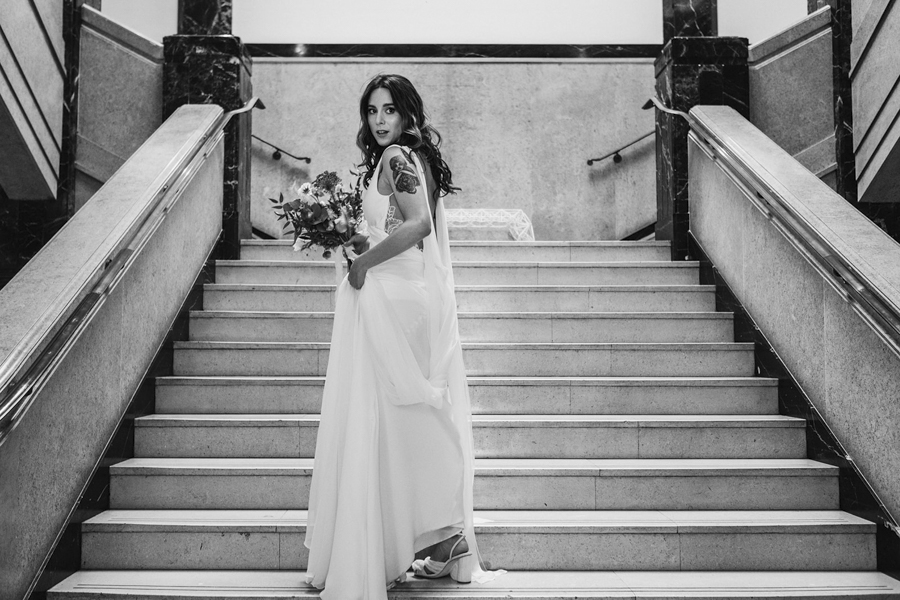 Michelle & Stephen's relaxed modern wedding at London's Town Hall Hotel, with York Place Studios (28)