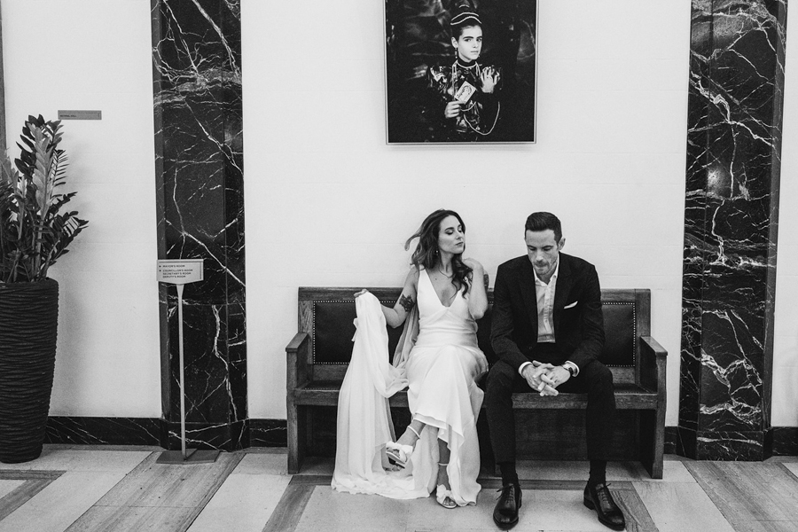 Michelle & Stephen's relaxed modern wedding at London's Town Hall Hotel, with York Place Studios (30)