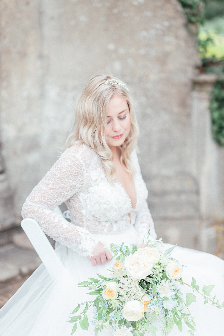 French Manor Styled Wedding Shoot in delicate blues, with Hannah McClune Photography on English Wedding Blog (20)