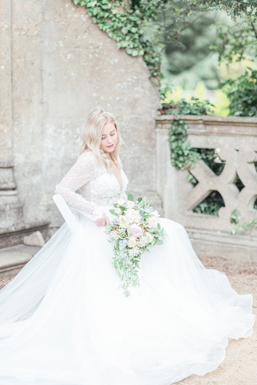 French Manor Styled Wedding Shoot in delicate blues, with Hannah McClune Photography on English Wedding Blog (24)