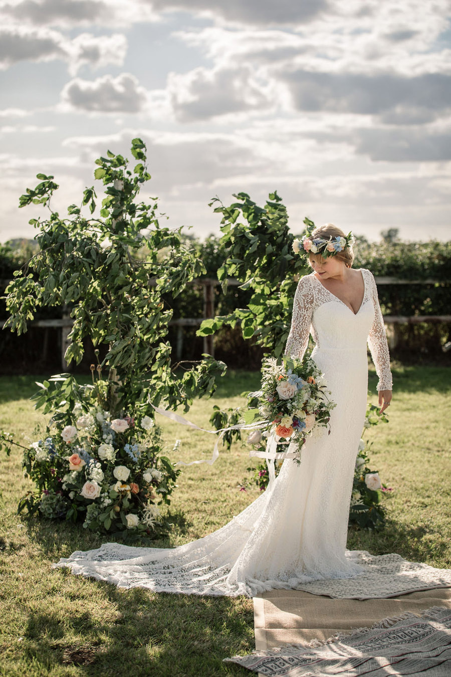 Evening sunset wedding inspiration at Willow Grange Farm, with Becky Harley Photography (24)