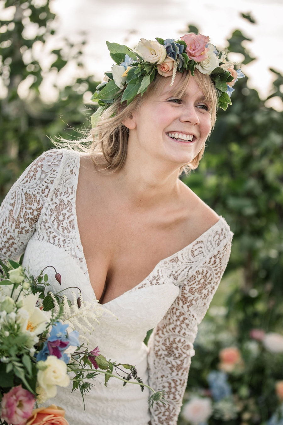 Evening sunset wedding inspiration at Willow Grange Farm, with Becky Harley Photography (27)