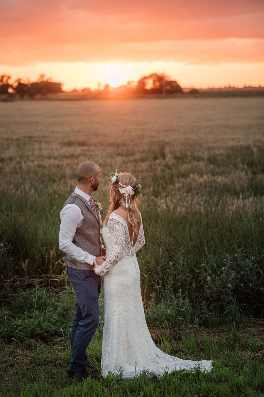 Evening sunset wedding inspiration at Willow Grange Farm, with Becky Harley Photography (56)
